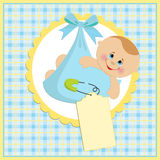 Baby greetings card. With blue bundle Royalty Free Stock Images