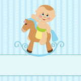 Baby greetings card. With boy and horse Stock Photo
