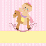 Baby greetings card. With girl and horse Stock Photos