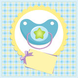 Baby greetings card. With blue nipple Stock Image