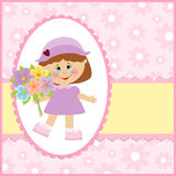 Baby greetings card. In pink colors Royalty Free Stock Image