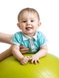 Baby on gymnastic ball. Baby boy on gymnastic ball Stock Image