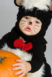 Baby Halloween Costume. Cute baby wearing halloween costume Stock Images