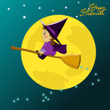 Baby halloween. Little witch flying on a broomstick, Halloween cartoon vector illustration Stock Images