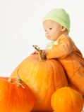 Baby and Halloween pumpkins Stock Photography