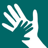Baby hand in adult hand vector illustration