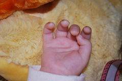 Baby hand. Child's hand on a background of yellow toy stock photography
