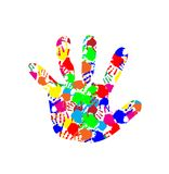 Baby hand with colorful hand prints pattern inside Royalty Free Stock Image