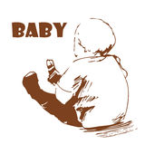 Baby. Hand-drawing. The kid sitting on the floor and looks into the distance stock illustration