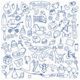 Baby hand drawn doodle set Royalty Free Stock Image