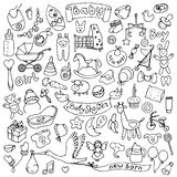 Baby hand drawn doodle set Stock Photography