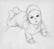 Baby - hand drawn sketch. Cute baby lying on his (or her) tummy and looking up. Pencil drawing, sketch Stock Images