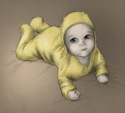 Baby - hand drawn sketch - color. Cute baby lying on his (or her) tummy and looking up. Pencil drawing, colored sketch Stock Photography