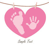 Baby hand and feet prints with heart greeting card Stock Photography