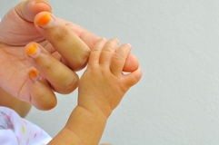 Baby hand and finger Stock Photo