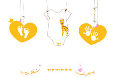 Baby hand foot prints and baby body with giraffe.Baby greeting. Card Stock Image