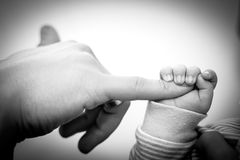 Baby hand gently holding adult's finger Royalty Free Stock Photography