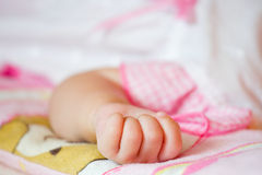 Baby hand gesturing. Close up Royalty Free Stock Photography