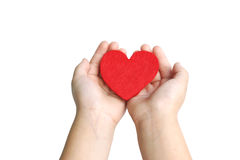 Baby hand and heart Royalty Free Stock Photo