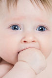 Baby with hand in her mouth closeup stock image