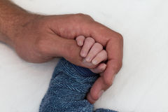 Baby hand holding fathers finger Stock Photography