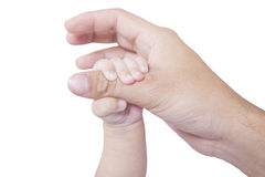 Baby hand holds father finger Royalty Free Stock Image