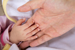 Baby hand in mother's palm Stock Photo