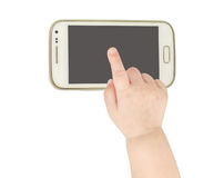 Baby hand pointing white smart phone Stock Photo