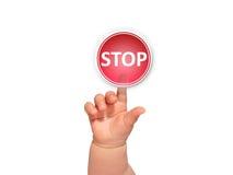 Baby hand pressing button. Stock Photos
