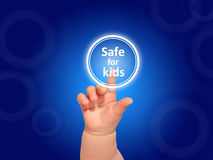 Baby hand pressing button. Baby hand pressing safe for kids button Stock Photo