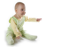 Baby with hand up. On white stock photos