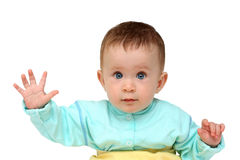 Baby with hand up - stop gesture Royalty Free Stock Photo