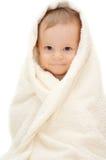Baby in handdoek Stock Afbeelding