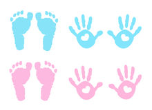 Baby handprint and footprint illustration Stock Photos