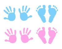 Baby handprint and footprint illustration Stock Image