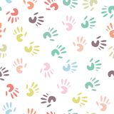 Baby handprint, seamless pattern Stock Image