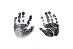 Baby Handprints in Black Ink Stock Photography