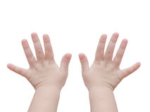 Baby hands over white Royalty Free Stock Photos