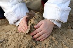 Baby hands in song. The Child game of sandbox. In frame only hands Royalty Free Stock Image