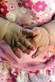 Baby hands together Stock Image
