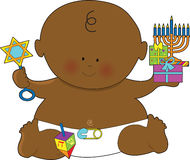 Baby Hanukkah Black. A baby dressed in a diaper and holding presents for Hanukkah