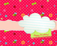Baby Happy Birthday card with cloud tag Royalty Free Stock Photo