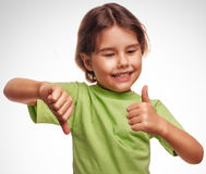 Baby happy little girl shows sign yes no gesture Stock Photo
