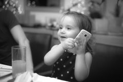 Baby happy time. 2 years old little girl fun time in her home Royalty Free Stock Photography