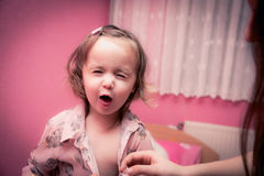 Baby happy time. 2 years old little girl fun time in her home Royalty Free Stock Images