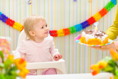 Baby happy to birthday cake Royalty Free Stock Photos