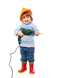 Baby in hardhat with drill Stock Images