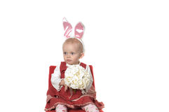 Baby with hare ears Royalty Free Stock Photos