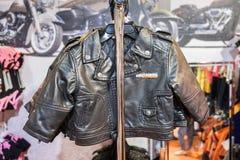 Baby Harley Davidson leather jacket for sale at motorshow. TEL-AVIV, ISRAEL - APRIL 3, 2018: Baby Harley Davidson leather jacket for sale at motorshow royalty free stock images