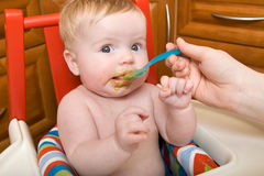 Baby Has First Food Stock Photography